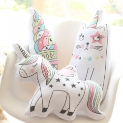 Unicorn, cat and ice-cream shaped pillow - soft toy