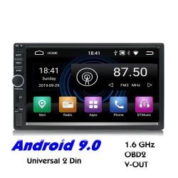 2 Din Bluetooth Android 9 radio para automóvil - WiFi - USB - Navegación GPS - Mirrorlink - MP3 MP5