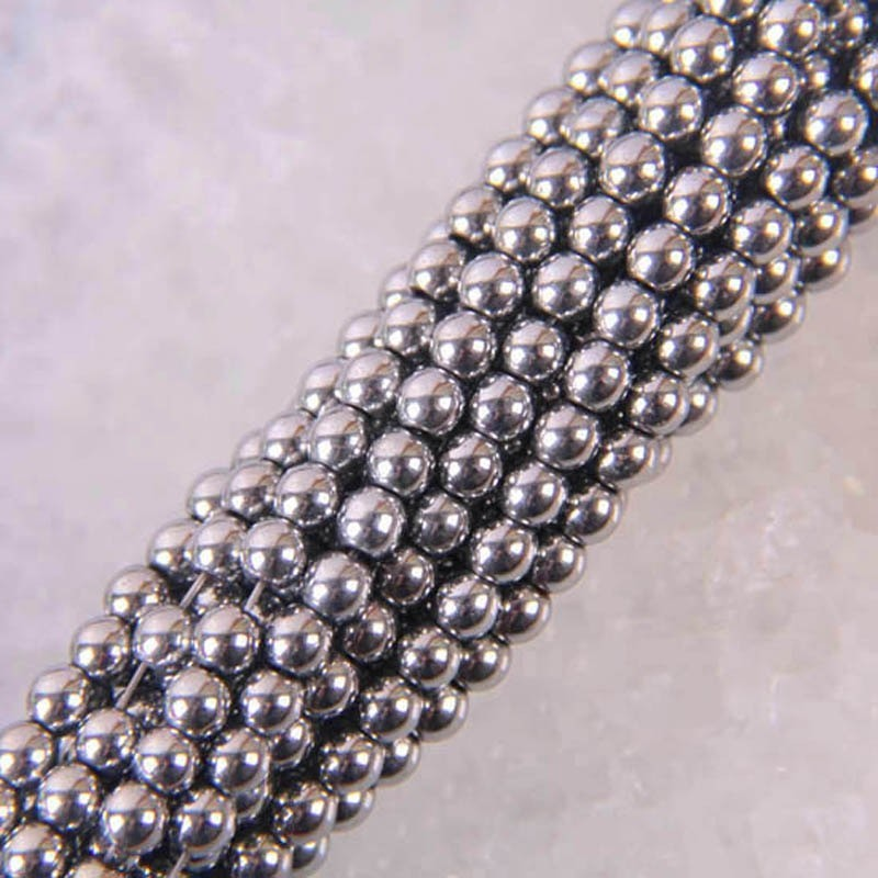 Magnetic hematite round loose beads - strand for jewellery making - 4mm - 39cm - silver
