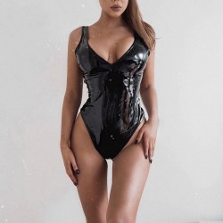 Sexy leather bodysuit - sleeveless