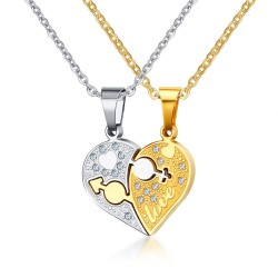 rhinestone charm pendant necklace - love heart shaped link chain necklace - gift jewelry accessories