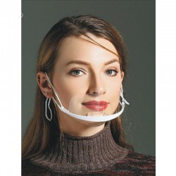 10 pieces - transparent mouth mask - anti-fog & -saliva - plastic mouth shield - lip reading