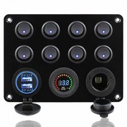 8 Gang toggle switch panel - 12V - 24V - Dual USB - digital voltmeter - waterproof