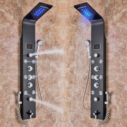 Stainless steel - 6-function waterfall - LED shower panel with massage system
