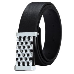 Metal Square Belt - Leather