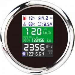 85mm - 6 in 1 - multi-functional - digital gauge - gps - speedometer - 9-32V - fuel level - water temp - alarm