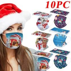 10 piezas - mascarilla médica antibacteriana desechable - mascarilla bucal - 3 capas - unisex - estampado navideño