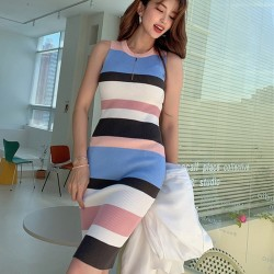Sleeveless Dress - Striped - 2 Colours