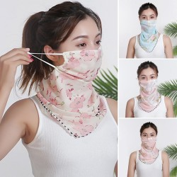 Chiffon scarf - face / neck / mouth cover with ear loops - anti-UV protection