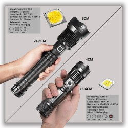 Powerful LED Flashlight - XHP - Torch Support - Mircro charging
