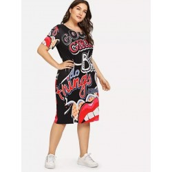 Large size - Funny print - Summer dress - XL-5XL