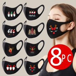 8PC - Colorful Christmas - Facemask - Washable