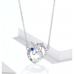 925 Sterling Silver - Unicorn Of Love - Necklaces - Zircon - Pendant