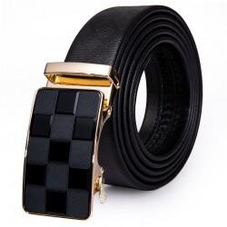 Luxury - Genuine Leather - Black - Gold Buckle - Belt