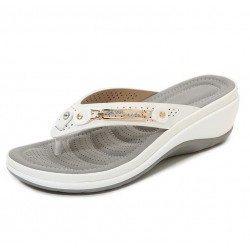 Elegant summer sandals - flip flops - metal and crystals decoration - comfortable