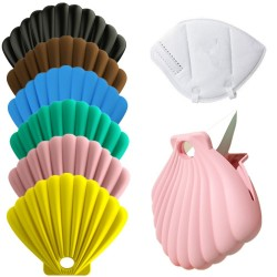 Seashell shaped storage case for face / mouth masks - silicone bag