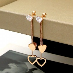 Crystal & hearts - double tassels - rose pink gold long earrings