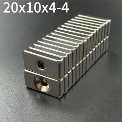 N35 Neodymium magnets - strong magnet block 20 * 10 * 4mm with 4mm hole - 10 pieces