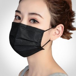 Protective face / mouth mask - disposable - 3-layer - black - 5 - 500 pieces