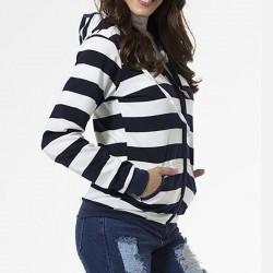 Women striped hoodies - sweatshirt