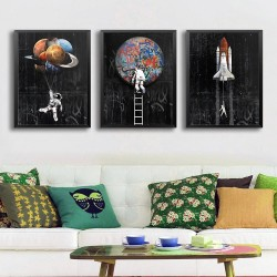 Astronaut - space - rocket - oil painting - canvas wall poster