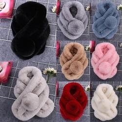 Luxury warm fluffy scarf with pom pom