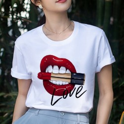 Red lips - bullet - Love - printed T-shirt