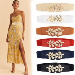 Fashionable elastic wide belt - leafs emblem buckle