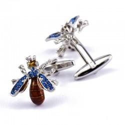 Blue crystal bee cufflinks - 2 pieces