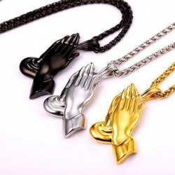 Praying hands pendant - with necklace - stainless steel