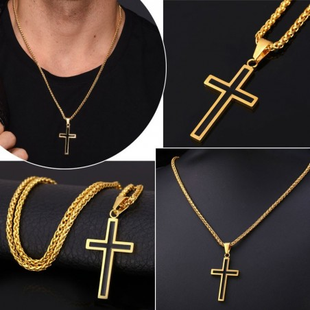 Necklace with cross pendant - stainless steel