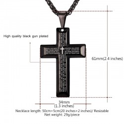 Cross with prayers - necklace - stainless steel