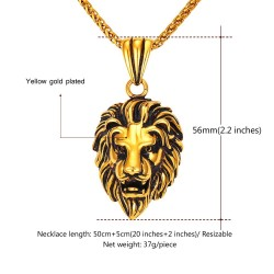 Lion head pendant - stainless steel necklace