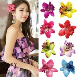 Fashionable hair clip - handmade - flower orchid