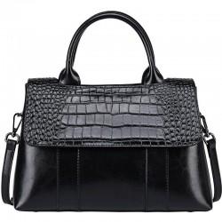 Elegant shoulder bag - leather - crocodile skin pattern