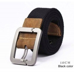 Men's canvas belt with a metal pin buckle - stripped
