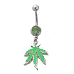 Green Leaf Dangle Belly Button Piercing