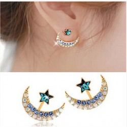 Moon & star - crystal stud earrings