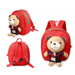Cartoon Tedy Bear Kids Backpack With Anti Lost Strap