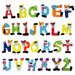 Wood 26 Alphabet Letters Fridge Magnets Educational Toy