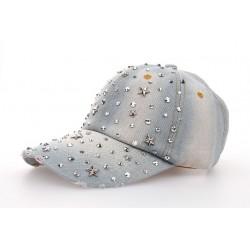Rhinestones - jeans baseball cap - hat - adjustable
