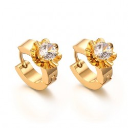 Gold stud earrings with zirconia