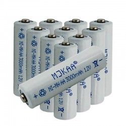 12V Ni-MH 3000mAh 2A rechargeable - AA battery -10 pieces