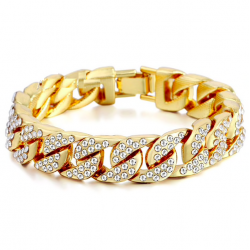 Gold / silver bracelet with zirconias unisex