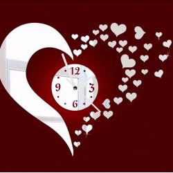 3D mirror heart & clock wall sticker
