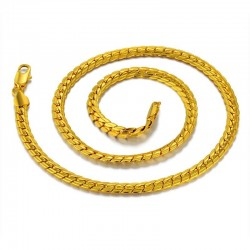 Gold plated snake chain men's necklace
