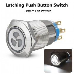 12v 19mm fan push button switch with LED - engine start - self-lock panel