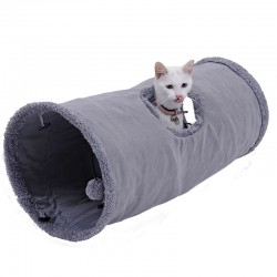 Foldable pets suede tunnel with ball & steel frame