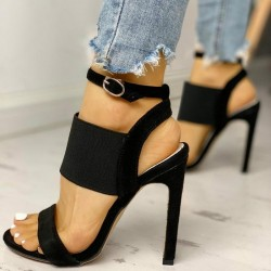 High heel sandals - pumps with ankle buckle & elastic rubber