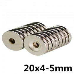 N35 neodymium cylinder magnet - super strong - countersunk hole - 20 * 4 * 5mm 10 pieces